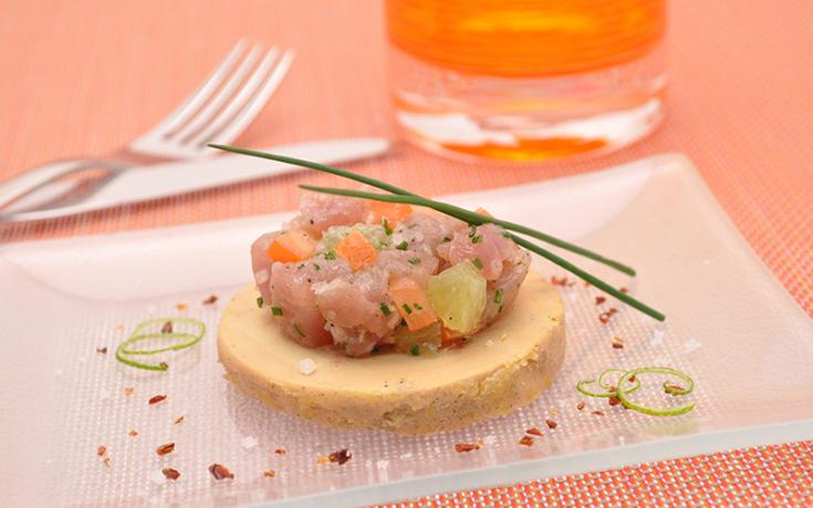Foie gras de canard mi-cuit et son tartare de thon rouge Ernest Soulard