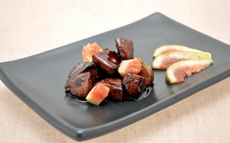 Wok de foie gras de canard figues sauce soja vinaigre balsamique